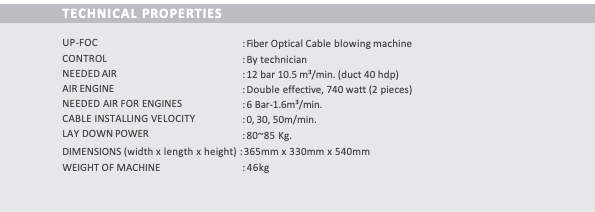 cable blowing machine Technical Properties